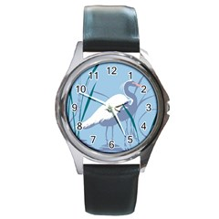Egret Round Metal Watch by WaltCurleeArt
