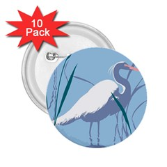 Egret 2 25  Buttons (10 Pack)  by WaltCurleeArt