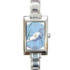 Egret Rectangle Italian Charm Watch by WaltCurleeArt