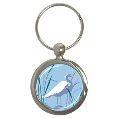 Egret Key Chains (round)  by WaltCurleeArt