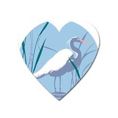 Egret Heart Magnet by WaltCurleeArt