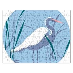 Egret Rectangular Jigsaw Puzzl by WaltCurleeArt