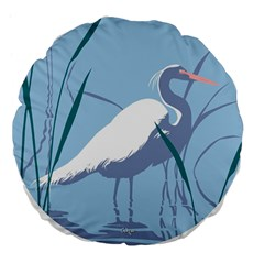 Egret Large 18  Premium Flano Round Cushions by WaltCurleeArt