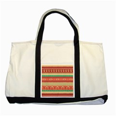 Hand Drawn Ethnic Shapes Pattern Two Tone Tote Bag by TastefulDesigns