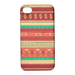 Hand Drawn Ethnic Shapes Pattern Apple Iphone 4/4s Hardshell Case With Stand by TastefulDesigns