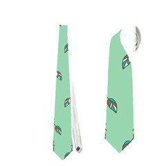 Seamless Lines And Feathers Pattern Neckties (Two Side)  by TastefulDesigns