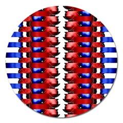 The Patriotic Flag Magnet 5  (round) by SugaPlumsEmporium