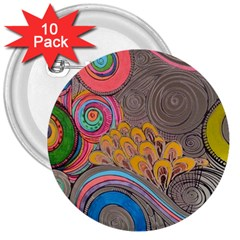 Rainbow Passion 3  Buttons (10 pack)  by SugaPlumsEmporium