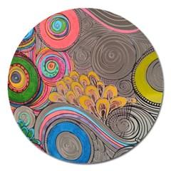Rainbow Passion Magnet 5  (round) by SugaPlumsEmporium