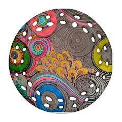 Rainbow Passion Ornament (round Filigree)  by SugaPlumsEmporium