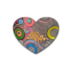Rainbow Passion Rubber Coaster (heart)  by SugaPlumsEmporium
