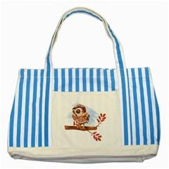 Owl Striped Blue Tote Bag by TastefulDesigns