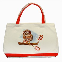 Owl Classic Tote Bag (Red) by TastefulDesigns