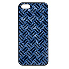 Woven2 Black Marble & Blue Marble (r) Apple Iphone 5 Seamless Case (black) by trendistuff