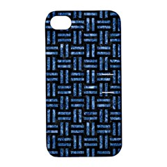 Woven1 Black Marble & Blue Marble Apple Iphone 4/4s Hardshell Case With Stand by trendistuff