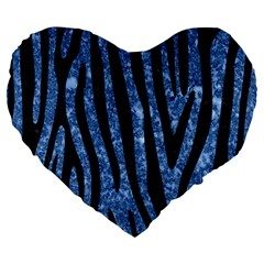 Skin4 Black Marble & Blue Marble Large 19  Premium Flano Heart Shape Cushion by trendistuff