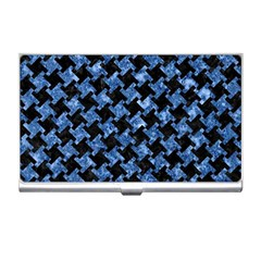 Houndstooth2 Black Marble & Blue Marble Business Card Holder by trendistuff