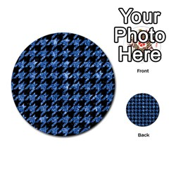 Houndstooth1 Black Marble & Blue Marble Multi Purpose Cards (round) by trendistuff