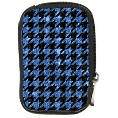 Houndstooth1 Black Marble & Blue Marble Compact Camera Leather Case by trendistuff