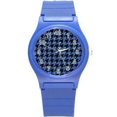 Houndstooth1 Black Marble & Blue Marble Round Plastic Sport Watch (s) by trendistuff
