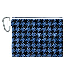 Houndstooth1 Black Marble & Blue Marble Canvas Cosmetic Bag (large) by trendistuff