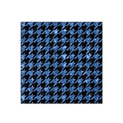 Houndstooth1 Black Marble & Blue Marble Satin Bandana Scarf by trendistuff