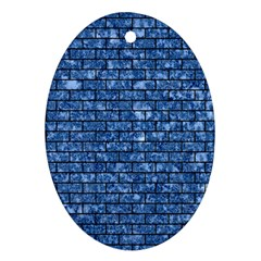Brick1 Black Marble & Blue Marble (r) Ornament (oval) by trendistuff