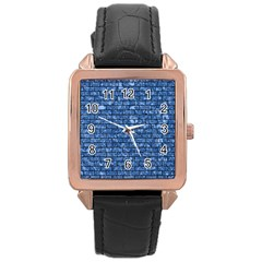 Brick1 Black Marble & Blue Marble (r) Rose Gold Leather Watch  by trendistuff