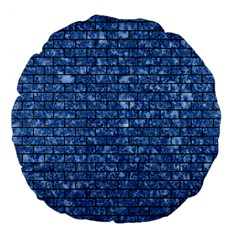 Brick1 Black Marble & Blue Marble (r) Large 18  Premium Flano Round Cushion  by trendistuff