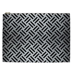 Woven2 Black Marble & Silver Brushed Metal (r) Cosmetic Bag (xxl) by trendistuff