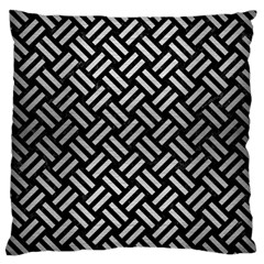 Woven2 Black Marble & Silver Brushed Metal Large Cushion Case (two Sides) by trendistuff