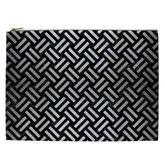 Woven2 Black Marble & Silver Brushed Metal Cosmetic Bag (xxl) by trendistuff