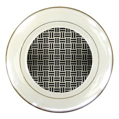 Woven1 Black Marble & Silver Brushed Metal (r) Porcelain Plate by trendistuff