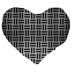 Woven1 Black Marble & Silver Brushed Metal (r) Large 19  Premium Flano Heart Shape Cushion by trendistuff