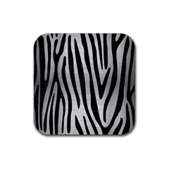 Skin4 Black Marble & Silver Brushed Metal Rubber Square Coaster (4 Pack) by trendistuff