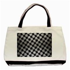 Houndstooth2 Black Marble & Silver Brushed Metal Basic Tote Bag by trendistuff