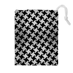 Houndstooth2 Black Marble & Silver Brushed Metal Drawstring Pouch (xl) by trendistuff