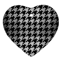 Houndstooth1 Black Marble & Silver Brushed Metal Ornament (heart) by trendistuff