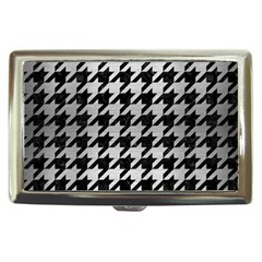 Houndstooth1 Black Marble & Silver Brushed Metal Cigarette Money Case by trendistuff