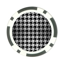 Houndstooth1 Black Marble & Silver Brushed Metal Poker Chip Card Guard by trendistuff