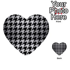 Houndstooth1 Black Marble & Silver Brushed Metal Multi Purpose Cards (heart) by trendistuff