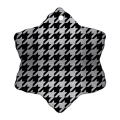 Houndstooth1 Black Marble & Silver Brushed Metal Snowflake Ornament (two Sides) by trendistuff