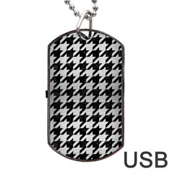 Houndstooth1 Black Marble & Silver Brushed Metal Dog Tag Usb Flash (two Sides) by trendistuff