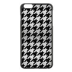Houndstooth1 Black Marble & Silver Brushed Metal Apple Iphone 6 Plus/6s Plus Black Enamel Case by trendistuff