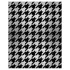 Houndstooth1 Black Marble & Silver Brushed Metal Drawstring Bag (small) by trendistuff