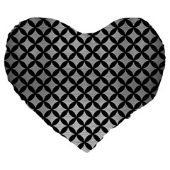Circles3 Black Marble & Silver Brushed Metal (r) Large 19  Premium Flano Heart Shape Cushion by trendistuff