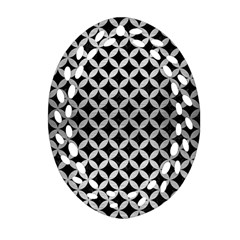 Circles3 Black Marble & Silver Brushed Metal Ornament (oval Filigree) by trendistuff