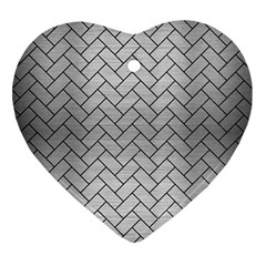Brick2 Black Marble & Silver Brushed Metal (r) Ornament (heart) by trendistuff