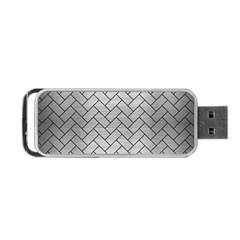 Brick2 Black Marble & Silver Brushed Metal (r) Portable Usb Flash (one Side) by trendistuff