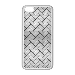 Brick2 Black Marble & Silver Brushed Metal (r) Apple Iphone 5c Seamless Case (white) by trendistuff